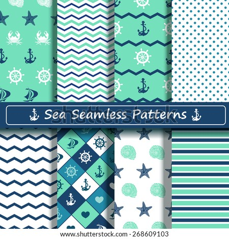 Set of blue, turquoise and white sea seamless patterns. Scrapbook design elements. All patterns are included in swatch menu. - stock vector