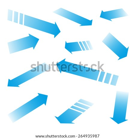 Set of blue vector arrows - stock vector