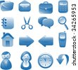 Set of  blue vector icons. Isolated on white - stock vector