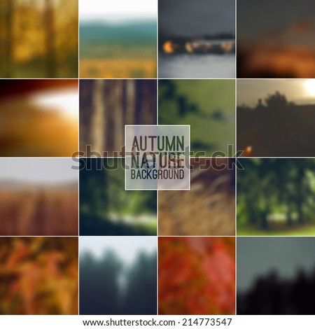 Set of blurred backgrounds landscape. Autumn color - stock vector