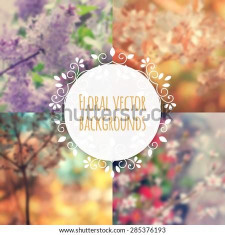 Set of blurred flower backgrounds with elegant floral frame. Vector.  - stock vector