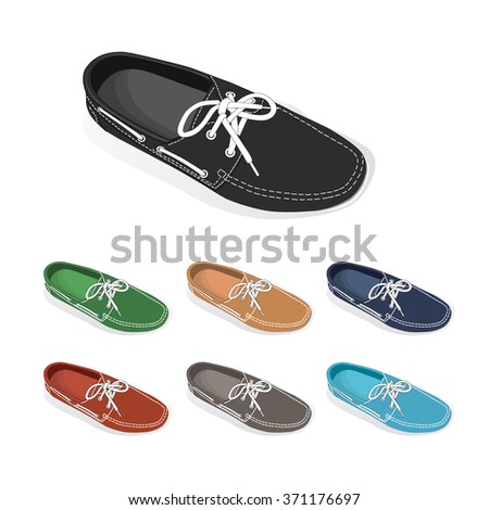 set of boat shoes. vector - stock vector