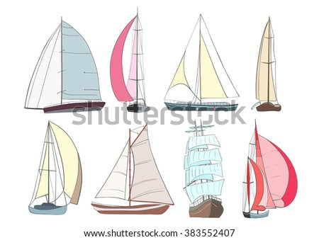 Set of boats with sails  made in the vector isolated on white background. Sport yacht, sailboat. - stock vector
