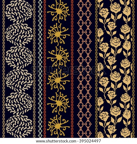 Set of bohemian borders with cosmology motifs. Hand drawn dotted galaxies, sun symbol, rose seamless pattern, geometric stripes. Vintage textile collection. Golden, silver shadows on dark blue.  - stock vector