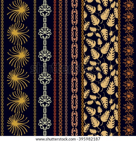Set of bohemian borders with floral motifs. Hand drawn seamless leaves pattern, sun symbol, damask border, geometric stripes. Vintage textile collection. Golden, silver shadows on dark blue.  - stock vector