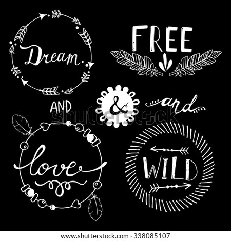 Set of Boho Style Frames and hand drawn elements. Vector illustration.  - stock vector