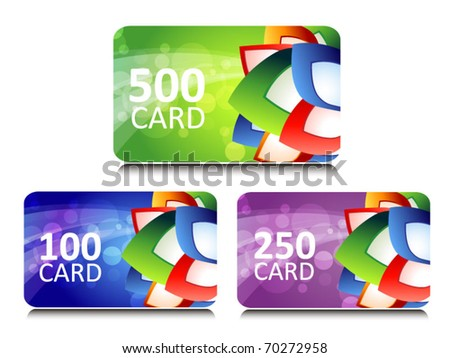 set of bonus and gift cards with glowing background - stock vector