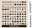 Set of 100 book icons - stock vector