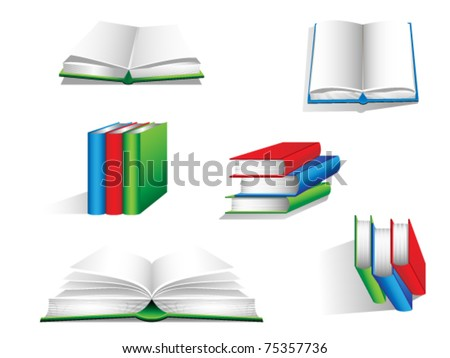 Set of book icons - stock vector