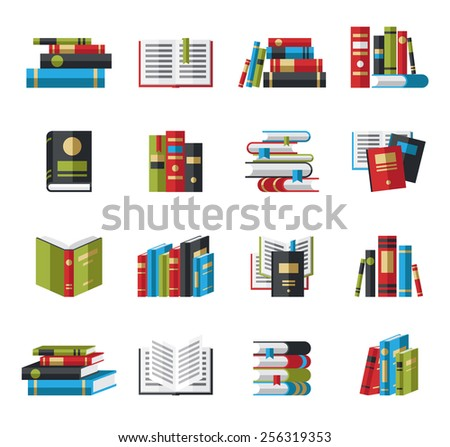 Set of book icons in flat design style concept - stock vector