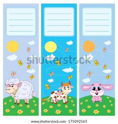 Set of book-marks for children with merry personages on green to the meadow: hare, cow, sheep. There is a place for Your text. - stock vector