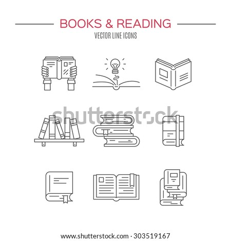 Set of books. Vector symbols of reading and learning. Book club illustration. Education logo element. - stock vector