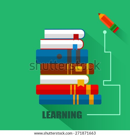 Set of books with pencil  in flat design, vector education illustration - stock vector