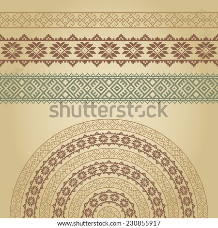 Set of borders and half-round with nordic ethnic ornaments. Colorful vector illustation on grunge background. Could be used for textile, web+design elements, book design, etc.   - stock vector