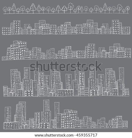 Set of 4 borders of european, skyline, urban houses. Trees border. White on gray. Hand drawn doodle city street sketch. Ink illustration. Vector EPS 8 - stock vector