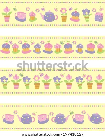 set of borders with flowers, cakes and tea utensils - stock vector