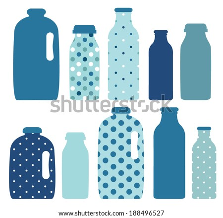 Set of bottles.Milk - stock vector