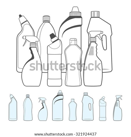 Set of Bottles of Cleaning Products in Outline Style - stock vector