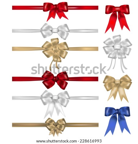 Set of bows and ribbons - isolated on white background. Vector illustration. - stock vector