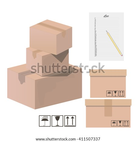 Set of boxes for. Vector illustration. - stock vector