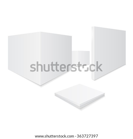 Set of boxes. Set three-dimensional different boxes.  - stock vector