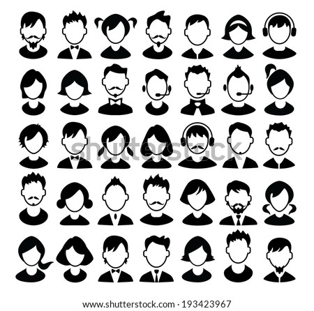 Set of boys and girls avatars and operator icons. Vector illustration. - stock vector