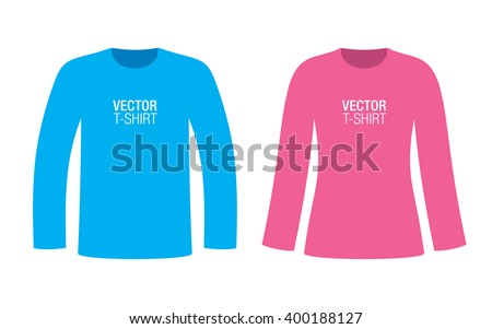 Set of boys and girls long sleeve T-shirt templates. Blue and pink vector T-shirts, isolated on background. - stock vector