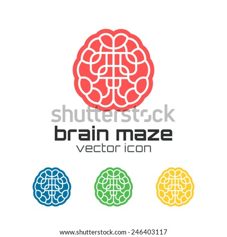 Set of brain maze icons. Concept logo. Vector illustration - stock vector