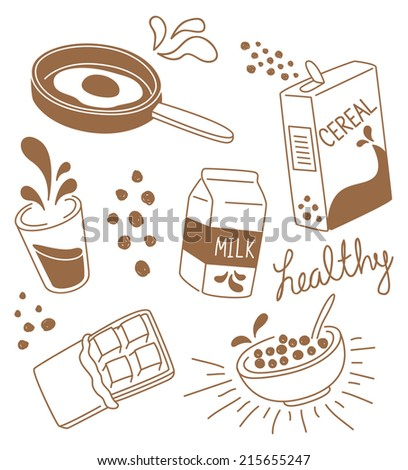 set of breakfast decorative element - stock vector