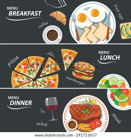 set of breakfast lunch and dinner web banner - stock vector