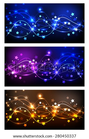 Set of bright abstract banners. Abstract energy stream design on dark background, colored violet, yellow, brown and blue. Contains bright lights, blurry particles and asterisks. - stock vector