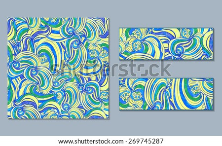 Set of bright abstract  patterns and banners.Vector illustration. Light blue and yellow colors. Wave festive doodle pattern. - stock vector