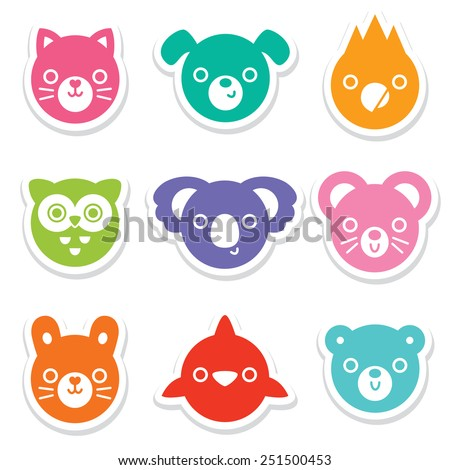 Set of bright and colorful animal and bird face stickers. Great for for decals cards, labels and tags. Minimal style, includes cat, dog, mouse, rabbit, owl, dolphin, koala, parrot, bear. - stock vector