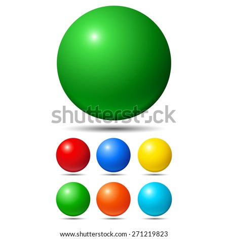 Set of bright colored balls. Green, red, yellow and cyan - stock vector