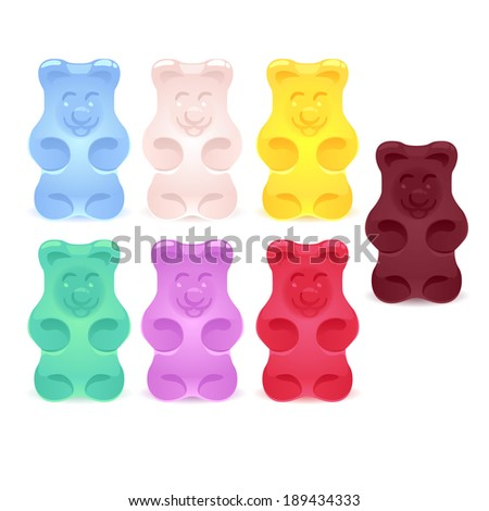 Set of bright colored gummy bears. - stock vector