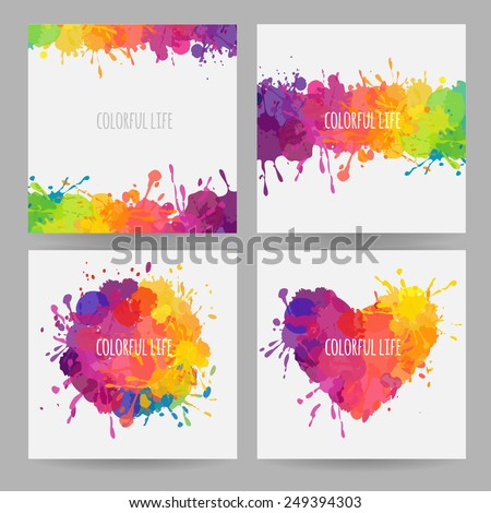 set of bright colorful banners - stock vector