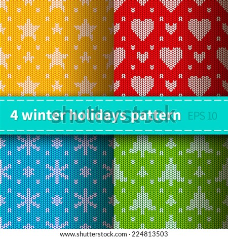 Set of 4 bright colorful seamless knitted patterns for winter holidays - stock vector