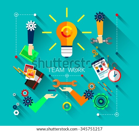 Set of bright flat design icon, illustration concepts for business, finance, consulting, management, team work, analysis, strategy and planning, startup. With shadows on blue background.  - stock vector