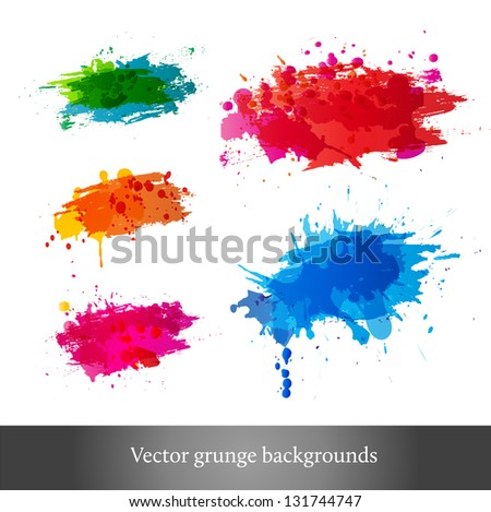 Set of bright grunge backgrounds. Vector illustration - stock vector