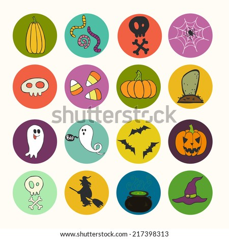 Set of bright hand drawn doodle halloween icons isolated on colorful bright circles. - stock vector
