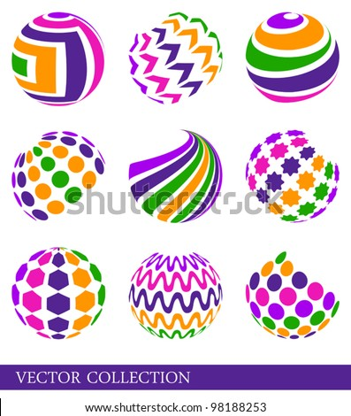 Set of bright multicolored abstract elements - stock vector