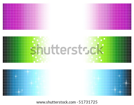 set of bright multicolored banners in pixel style with copyspace for your text - stock vector