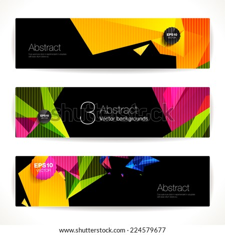 Set of bright polygonal geometric backgrounds for modern design  - stock vector