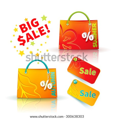 Set of bright red and orange shopping bags with advertising seasonal summer and autumn sellout and fob as a sign of percent and sale label - stock vector