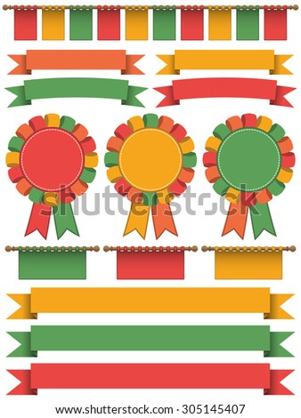 set of bright ribbons, bunting, banners and rosettes isolated on white - stock vector