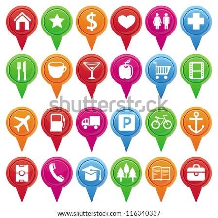 Set of bright vector markers for map and plan with navigational icons - stock vector
