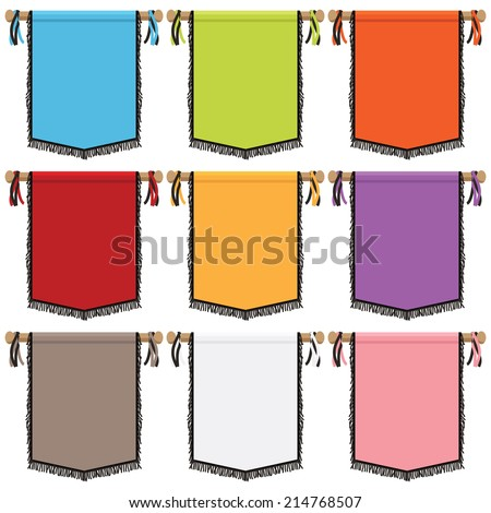 set of bright wall hanging banners with tassels, 9 variations isolated on white - stock vector