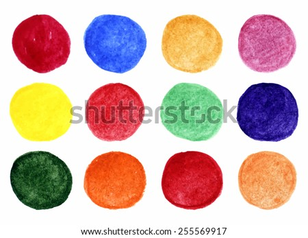 Set of bright watercolor spots for your design. Vector illustration. - stock vector
