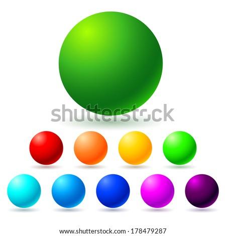 Set of brignt colored balls. Full spectrum. - stock vector