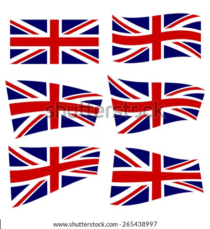 Set of british flags on white background. Vector illustration - stock vector
